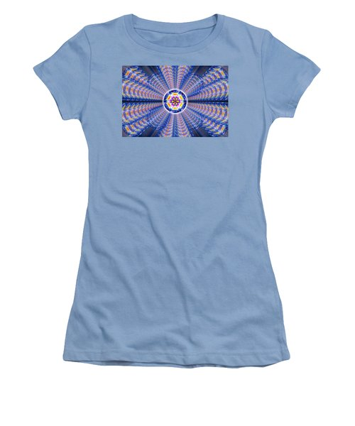 Women's T-Shirt (Junior Cut) featuring the drawing Blue Crystal Consciousness by Derek Gedney