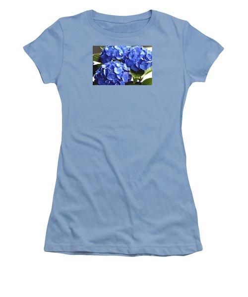 Women's T-Shirt (Junior Cut) featuring the photograph Blue Hydrangea by Lehua Pekelo-Stearns