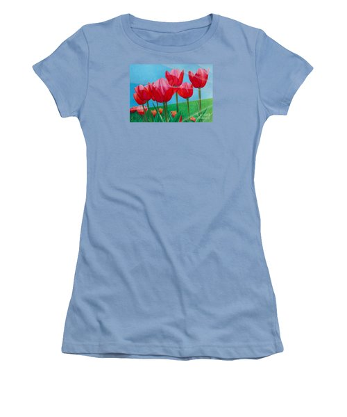 Women's T-Shirt (Junior Cut) featuring the painting Blue Ray Tulips by Pamela Clements