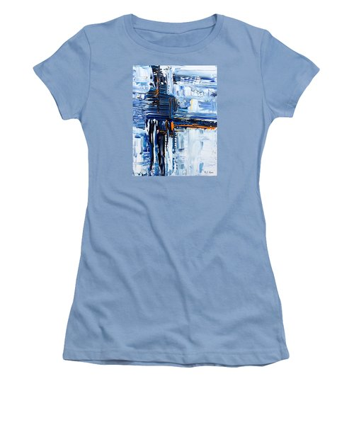 Women's T-Shirt (Junior Cut) featuring the painting Blue Thunder by Rebecca Davis
