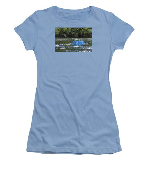 Women's T-Shirt (Junior Cut) featuring the photograph Blue Floaty - Inner Tube On The River by Jane Eleanor Nicholas