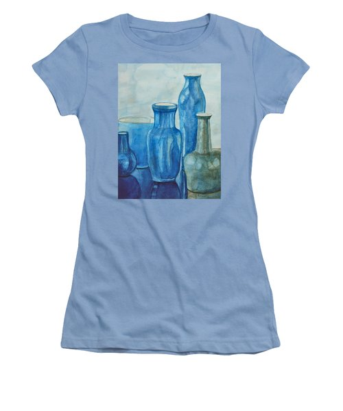 Blue Vases I Women's T-Shirt (Junior Cut) by Anna Ruzsan