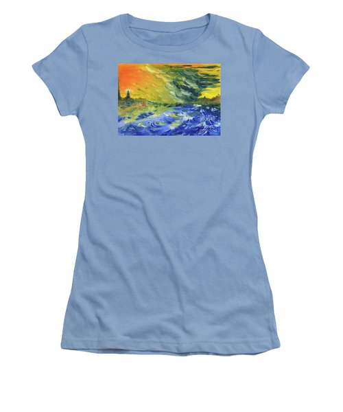 Blue Waves Women's T-Shirt (Junior Cut) by Teresa White