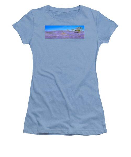 Women's T-Shirt (Junior Cut) featuring the photograph Bluebonnet Vista Texas  - Wildflowers Landscape Flowers  by Jon Holiday