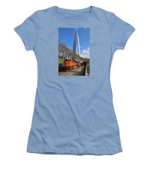 Bnsf Ore Train And St. Louis Gateway Arch Women's T-Shirt (Athletic Fit)