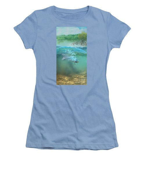 Women's T-Shirt (Junior Cut) featuring the painting Bone Fish by Rob Corsetti