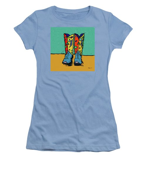 Boots On Teal Women's T-Shirt (Athletic Fit)
