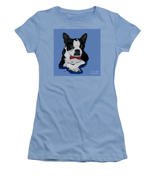 Boston Terrier With A Bowtie Women's T-Shirt (Athletic Fit)