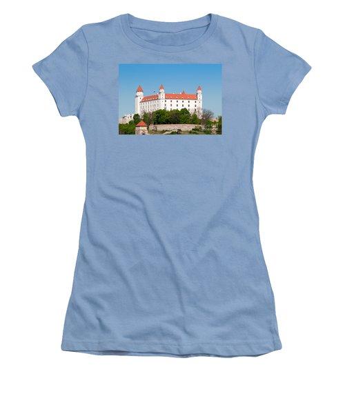 Women's T-Shirt (Junior Cut) featuring the photograph Bratislava Castle by Les Palenik