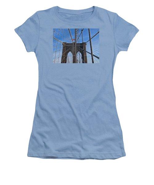 Women's T-Shirt (Junior Cut) featuring the photograph Brooklyn Bridge by David Gleeson