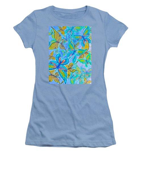Women's T-Shirt (Junior Cut) featuring the mixed media Butterflies On Blue by Teresa Ascone