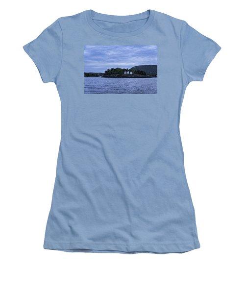Women's T-Shirt (Junior Cut) featuring the photograph Camden Twilight N Curtis Island Light House by Daniel Hebard