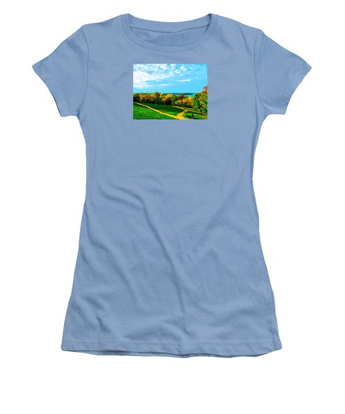 Women's T-Shirt (Junior Cut) featuring the photograph Campus Fall Colors by Zafer Gurel