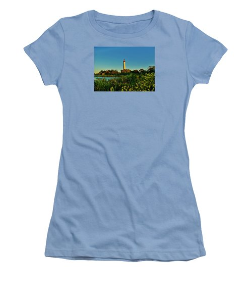 Cape May Lighthouse Above The Flowers Women's T-Shirt (Junior Cut) by Ed Sweeney