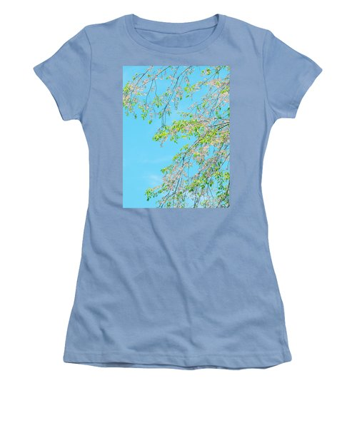 Women's T-Shirt (Junior Cut) featuring the photograph Cherry Blossoms Falling by Rachel Mirror