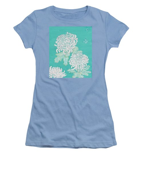 Women's T-Shirt (Junior Cut) featuring the painting Chrysanthemums And Butterflies by Stephanie Grant