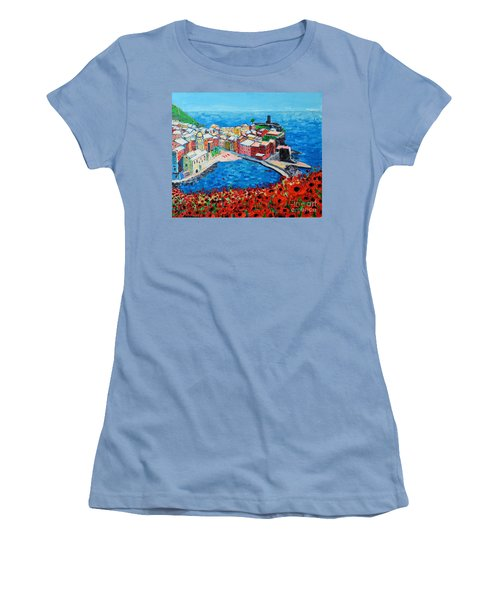 Cinque Terre Vernazza Poppies Women's T-Shirt (Athletic Fit)