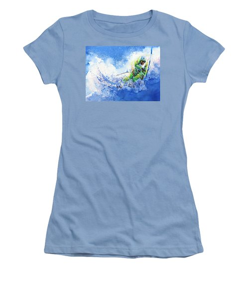 Women's T-Shirt (Athletic Fit) featuring the painting Competitive Edge by Hanne Lore Koehler