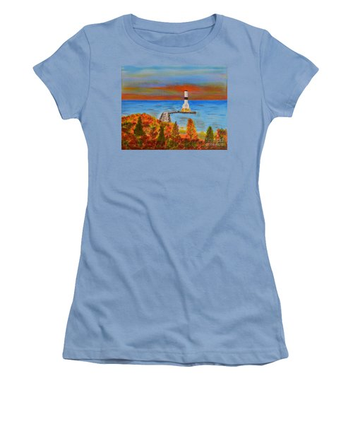 Fall, Conneaut Ohio Light House Women's T-Shirt (Junior Cut) by Melvin Turner