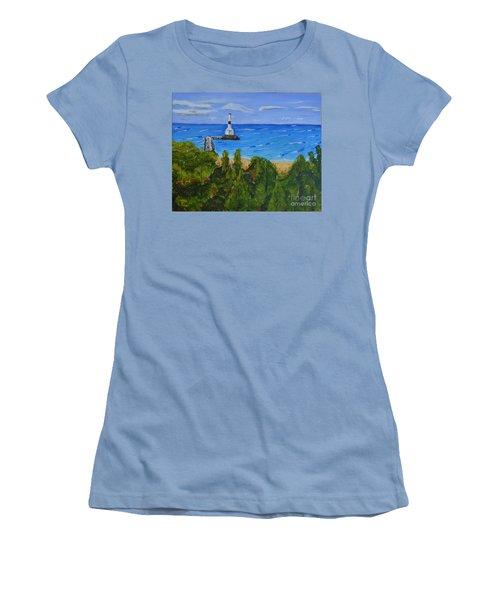 Summer, Conneaut Ohio Lighthouse Women's T-Shirt (Junior Cut) by Melvin Turner