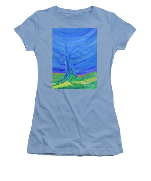 Women's T-Shirt (Junior Cut) featuring the painting Cosmic Tree by First Star Art