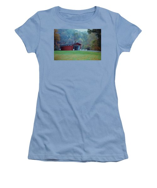 Women's T-Shirt (Junior Cut) featuring the photograph Covered Bridge by Diane Alexander