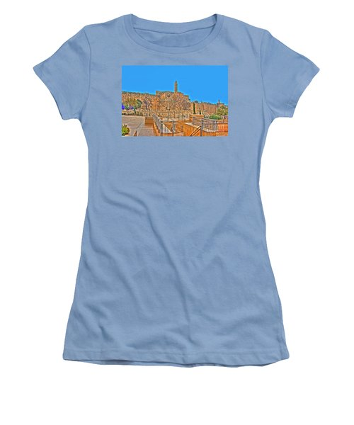 Women's T-Shirt (Junior Cut) featuring the photograph Davids Citadel - Israel by Doc Braham