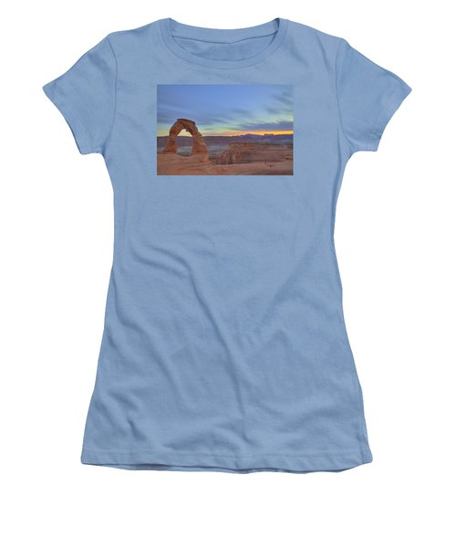 Women's T-Shirt (Junior Cut) featuring the photograph Delicate Arch At Sunset by Alan Vance Ley