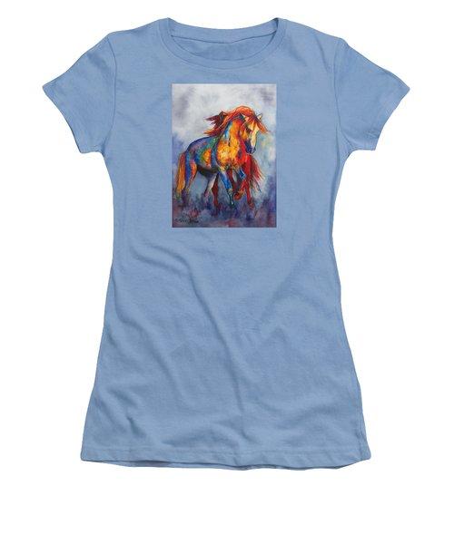 Women's T-Shirt (Junior Cut) featuring the painting Desert Dance by Karen Kennedy Chatham
