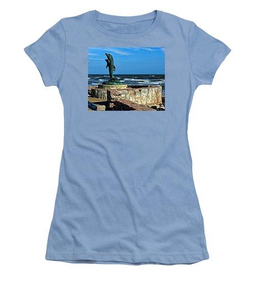Dolphin Statue Women's T-Shirt (Junior Cut) by Judy Vincent