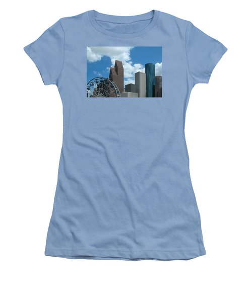 Downtown Houston With Ferris Wheel Women's T-Shirt (Junior Cut) by Connie Fox