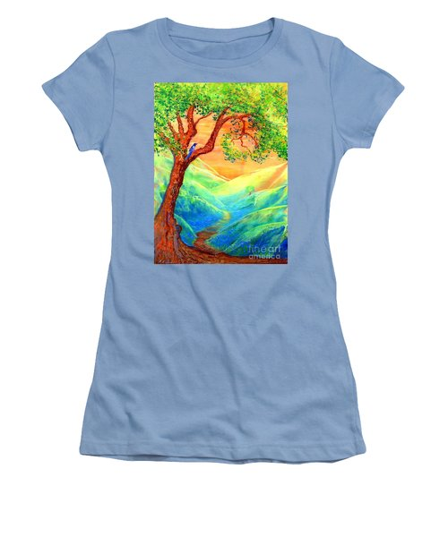 Women's T-Shirt (Junior Cut) featuring the painting Dreaming Of Bluebells by Jane Small