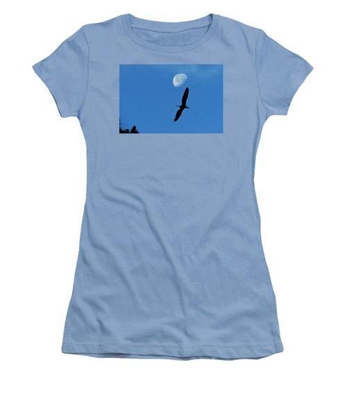 Women's T-Shirt (Junior Cut) featuring the photograph Egret Flight by Charlotte Schafer