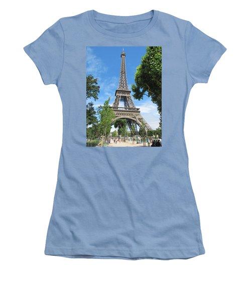 Women's T-Shirt (Junior Cut) featuring the photograph Eiffel Tower - 1 by Pema Hou