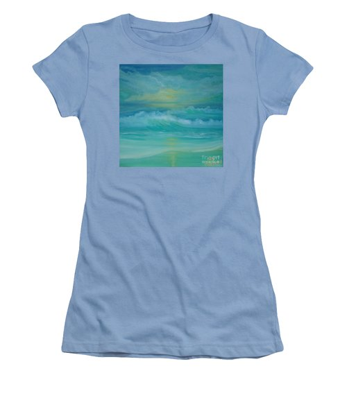 Women's T-Shirt (Junior Cut) featuring the painting Emerald Waves by Holly Martinson