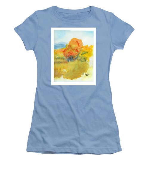 Women's T-Shirt (Junior Cut) featuring the painting Fall Trees 2 by C Sitton