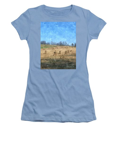 Women's T-Shirt (Junior Cut) featuring the painting Farm Days 2 by Sara  Raber