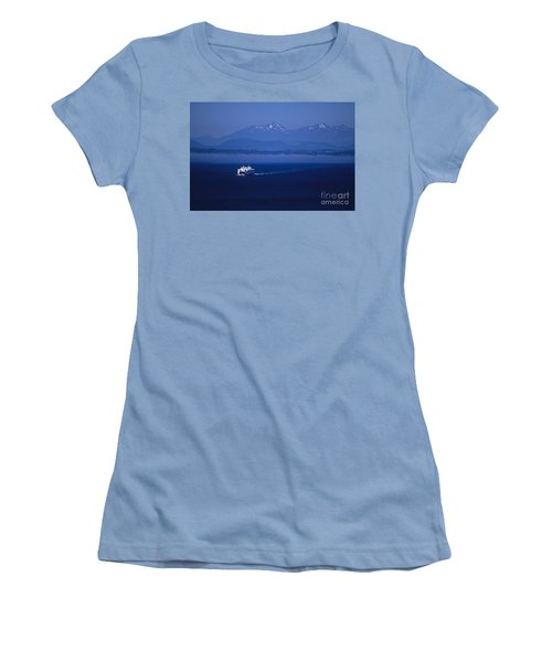 Ferry Boat In Puget Sound With Olympic Mountains Women's T-Shirt (Athletic Fit)