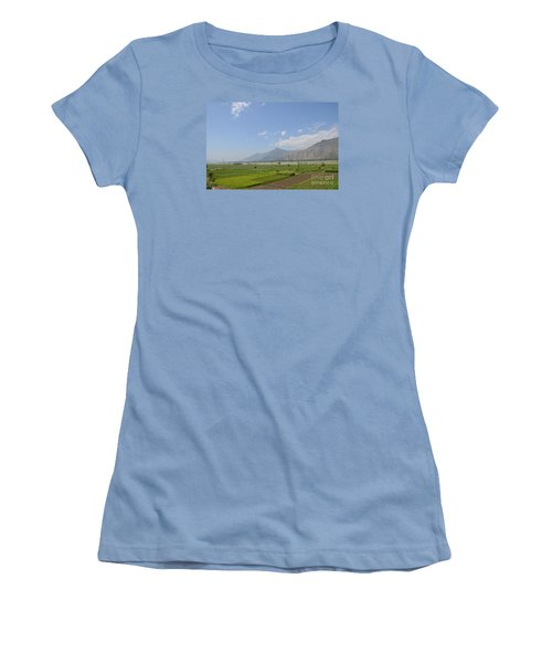 Women's T-Shirt (Junior Cut) featuring the photograph Fields Mountains Sky And A River Swat Valley Pakistan by Imran Ahmed