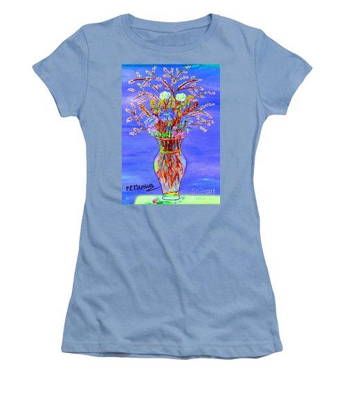 Women's T-Shirt (Junior Cut) featuring the painting Fiori by Loredana Messina
