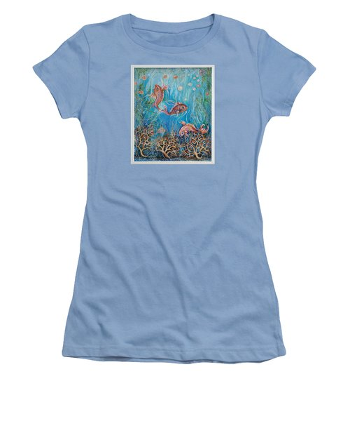 Women's T-Shirt (Junior Cut) featuring the painting Fish In A Pond by Yolanda Rodriguez