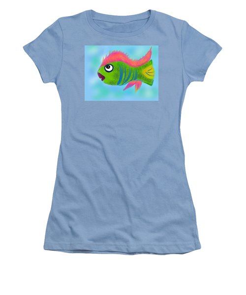 Women's T-Shirt (Junior Cut) featuring the digital art Fish Wish by Christine Fournier