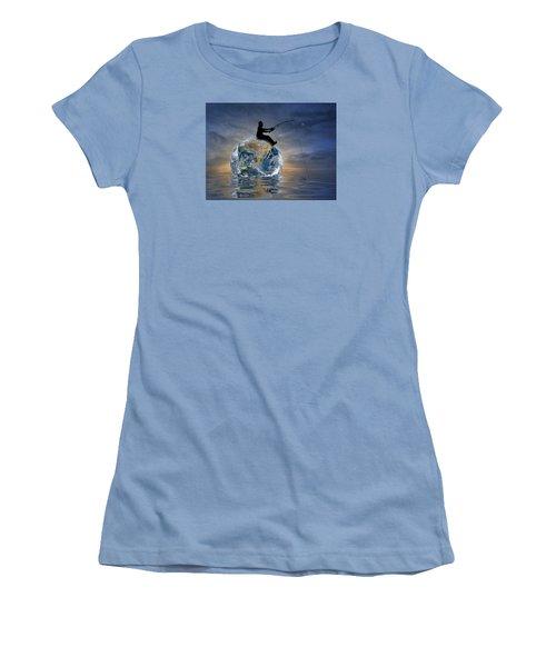 Women's T-Shirt (Junior Cut) featuring the digital art Fishing Is My World by Nina Bradica