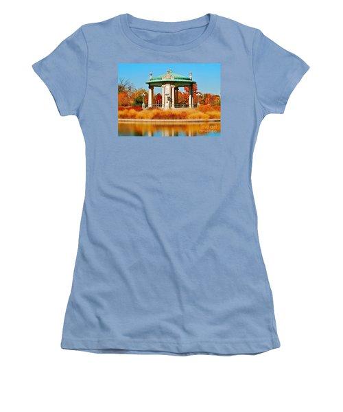 Women's T-Shirt (Junior Cut) featuring the photograph Forest Park Gazebo by Peggy Franz