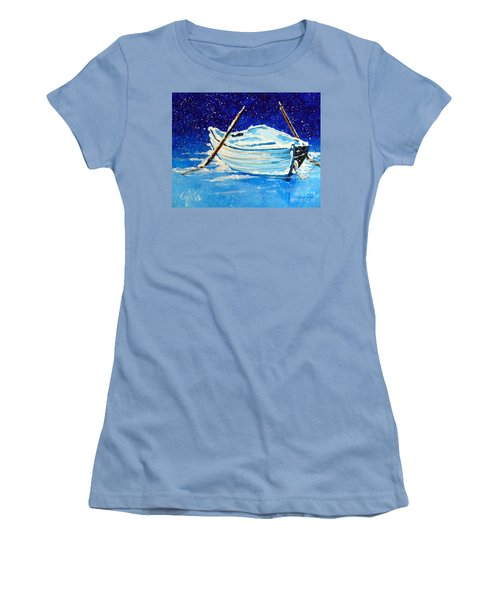 Women's T-Shirt (Junior Cut) featuring the painting Forgotten Rowboat by Jackie Carpenter