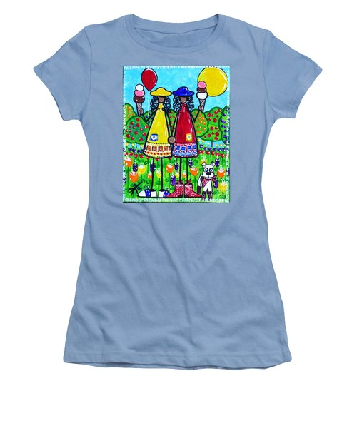Women's T-Shirt (Junior Cut) featuring the painting Friends by Jackie Carpenter