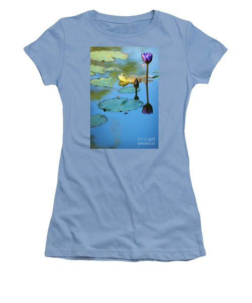 Women's T-Shirt (Junior Cut) featuring the photograph Frog And Lily by Ellen Cotton