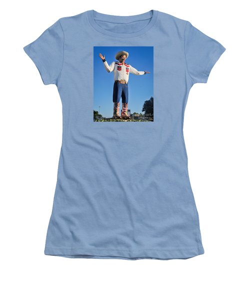 Giant Cowboy Big Tex State Fair Of Texas Women's T-Shirt (Junior Cut) by David Perry Lawrence