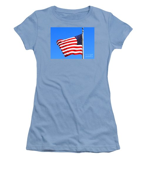 Women's T-Shirt (Junior Cut) featuring the photograph God Bless America by Judy Palkimas