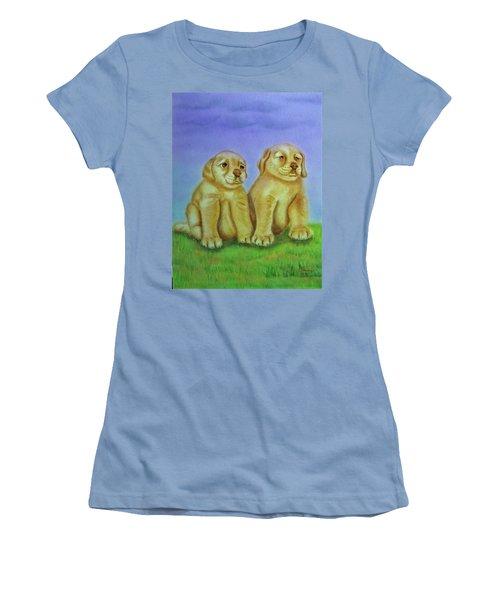 Women's T-Shirt (Junior Cut) featuring the painting Golden Retriever by Thomas J Herring